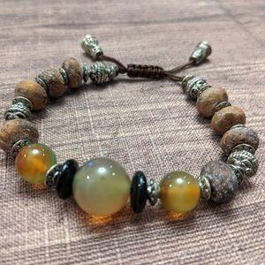 Beaded boho bracelet - wood and glass
